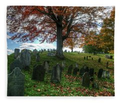 Old Hill Burying Ground In Autumn Fleece Blanket