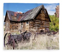 Old Log Cabin And Hay Rake Fleece Blanket