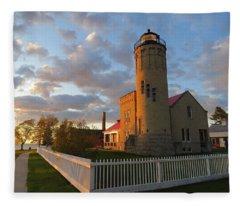 Old Mackinac Point Lighthouse Sunrise Fleece Blanket