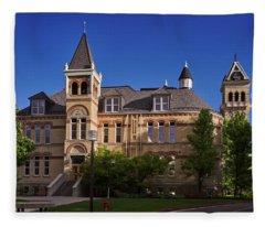 Old Main Agricultural College Of Utah Logan Utah Go Aggies Fleece Blanket