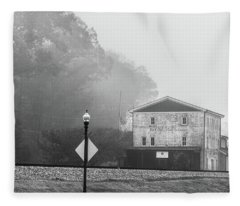 Old Mill By The Tracks Fleece Blanket