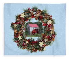 Old Mill Of Guilford Christmas Wreath Commission Fleece Blanket