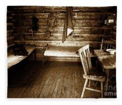Old Mining Cabin Fleece Blanket