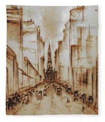 Old Philadelphia City Hall 1920 - Pencil Drawing Fleece Blanket