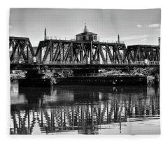 Old Railroad Swing Bridge Fleece Blanket