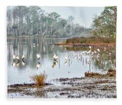 Old Rice Pond Fleece Blanket