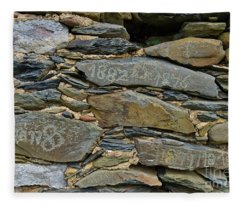 Old Schist Wall With Several Dates From 19th Century. Portugal Fleece Blanket