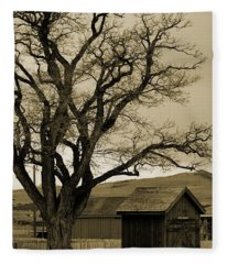 Old Shanty In Sepia Fleece Blanket