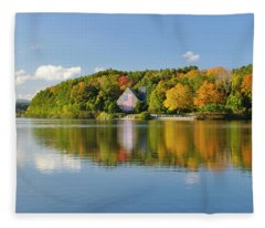 Old Stone Church Colors Of Autumn Fleece Blanket