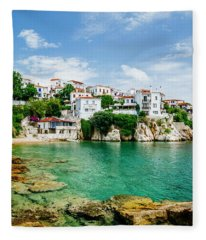 Old Town View Of Skiathos Island, Sporades, Greece.  Fleece Blanket