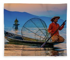 On Inle Lake Fleece Blanket