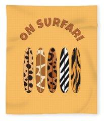 On Surfari Animal Print Surfboards  Fleece Blanket