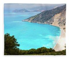 One Of The Most Popular Beaches In Greece Fleece Blanket