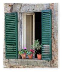 Open Window Of Tuscany Fleece Blanket
