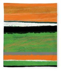 Orange And Green Abstract II Fleece Blanket