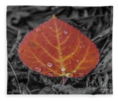 Orange Aspen Leaf Fleece Blanket