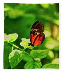 Orange Butterfly On Leaf Fleece Blanket