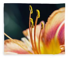 Orange Day Lily Stamen Fleece Blanket
