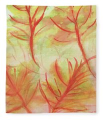 Orange Fanciful Leaves Fleece Blanket
