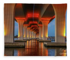 Orange Light Bridge Reflection Fleece Blanket