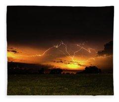 Orange Lightning Fleece Blanket