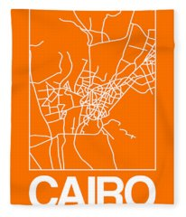 Orange Map Of Cairo Fleece Blanket