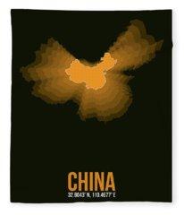 Orange Map Of China  Fleece Blanket