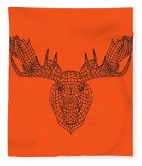 Orange Moose Fleece Blanket