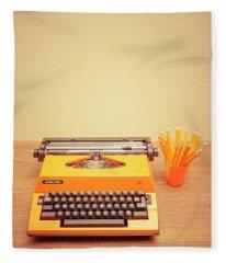 Orange Portable Typewriter 01 Fleece Blanket