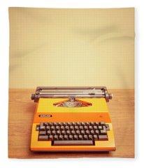 Orange Portable Typewriter 04 Fleece Blanket