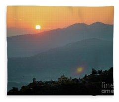 Orange Sunrise Above Mountain In Valley Himalayas Mountains Fleece Blanket