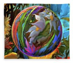 Orbing Aloha Lei Fleece Blanket