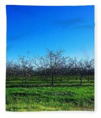 Orchard Trees In Blue Fleece Blanket