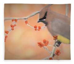 Orchard Waxwing Fleece Blanket