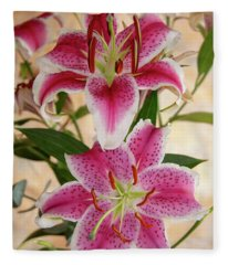 Oriental Lily Pair Fleece Blanket