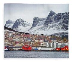Ornes Village Norway Fleece Blanket