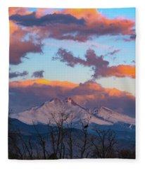 Osprey Perched Beneath A Towering Longs Peak Fleece Blanket