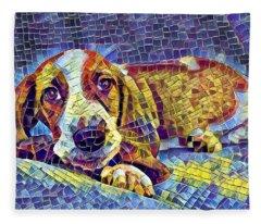 Otis The Potus Basset Hound Dog Art  Fleece Blanket
