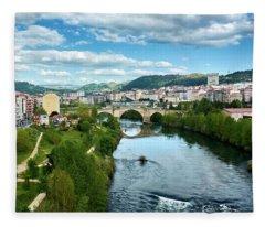 Ourense And The Roman Bridge From The Millennium Bridge Fleece Blanket