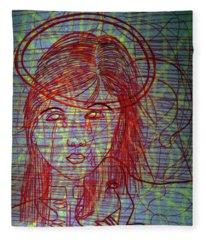 Ourlady Of Asia Divine Shepherdess Fleece Blanket