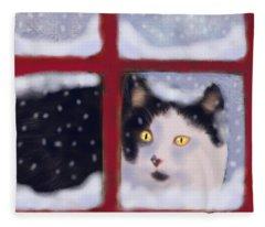 Out In A Winter Storm Fleece Blanket