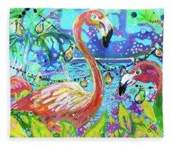 Outdoor Flamingo Party Fleece Blanket