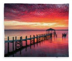 Outer Banks North Carolina Sunset Seascape Photography Duck Nc Fleece Blanket