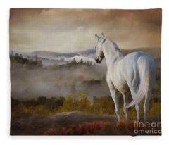 Fleece Blanket featuring the digital art Overlook by Melinda Hughes-Berland