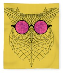 Owl In Pink Glasses Fleece Blanket