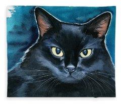 Ozzy Black Cat Painting Fleece Blanket
