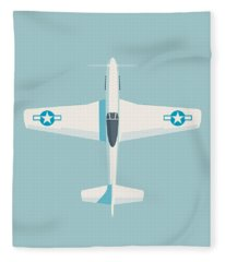 P51 Mustang Fighter Aircraft - Sky Fleece Blanket