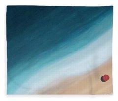 Pacific Ocean And Red Umbrella Fleece Blanket