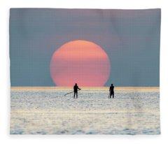Sunrise Paddle Boarding Fleece Blanket