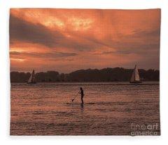 Paddleboarding On The Great Peconic Bay Fleece Blanket